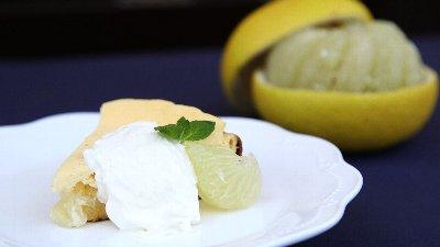 フライパンで文旦のチーズケーキ