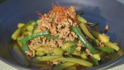 きゅうりとひき肉の中華炒め
