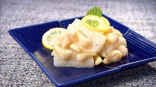 真珠貝柱のレモンバター焼