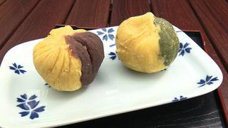 2種のサツマイモきんとん <br>(あんこ・抹茶)